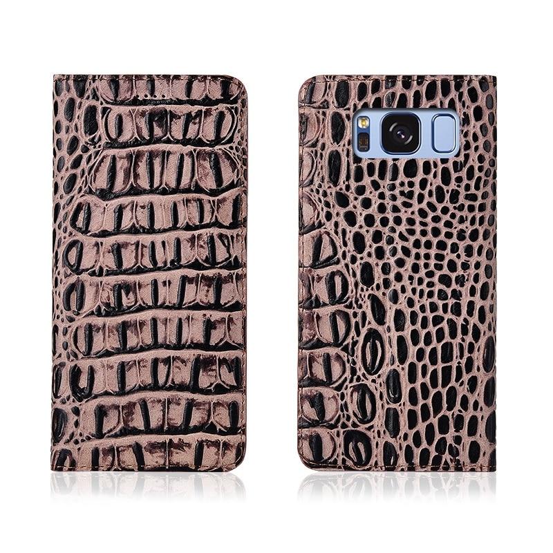 Crocodile Pattern Genuine Leather Flip Phone Case Slot Card Holder For Samsung Galaxy S8 Plus/Samsung Galaxy S8 Phone Bag Case  - buy with discount