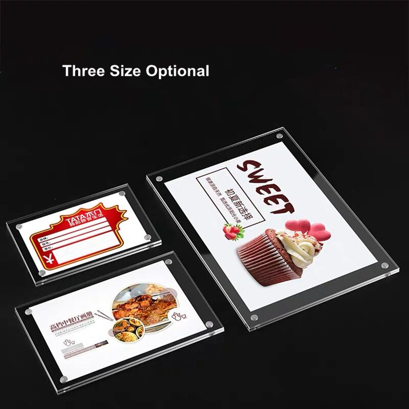 150x100mm Wall Mount 6mm Thick Magnetic Acrylic Sign Holder Frame Price Card Tag Label Counter Top Stand With 3M Adhesive Tape