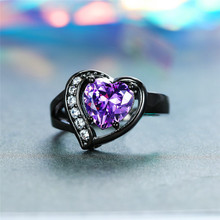 Elegant Female Small Purple Heart Ring Solitaire Black Gold Love Engagement Ring Vintage Wedding Rings For Women elegant purple black gold filled cz ring gold colors flowers rings unique vintage party wedding for women christmas jewelry