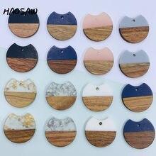 HAOSAW 23*25MM 4 Pçs/lote Material de Madeira/HandMade/Semi Resina/Multi Cores/Suave/Perfurados/DIY Fazer Jóias/Achados Brinco