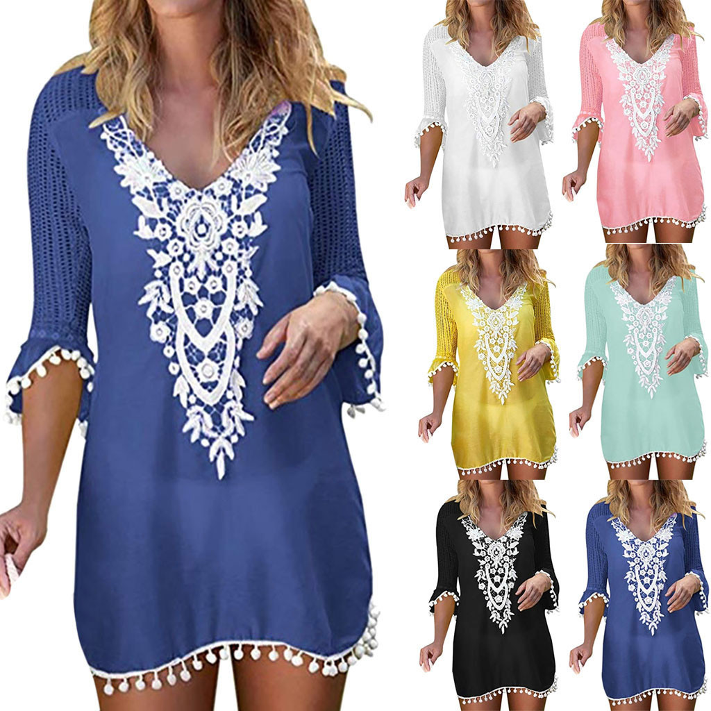 #Z2 Sexy Crochet Beach Cover Up V Neck Summer Beach Dress Cotton Swimwear Cover Up Solid Robe De Plage Tunic Bikini Covers