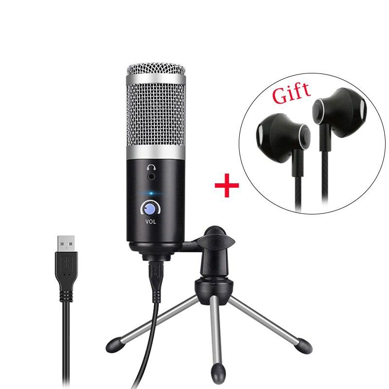 Condensador microfone profissional para computador pc usb plug + tripé suporte youtube gravação de transmissão microfone karaoke mic