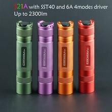 Вспышка светильник фонарь конвой S21A с SST40 S2 + плюс 21700 версия флэш светильник зеленый фиолетовый оранжевый красный кемпинга Рыбная ловля све...