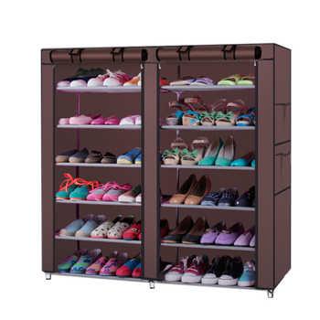 6-Row 2-Line 12 Lattices Non-woven Fabric Shoe Rack Coffee Shoe Rack Dustproof Shoes Rack Non-Woven Fabric Shoe Stands Organizer