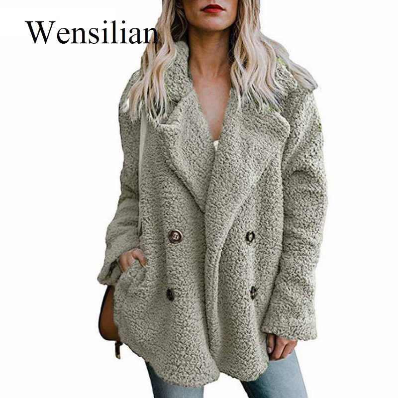 Winter Jackets Women Teddy Coat Overcoat Lapel Warm Fluffy Hairy Jackets Female Long Sleeve Coats Chaqueta Mujer 5XL Plus Size