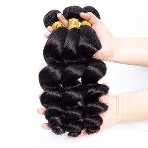 Image 4 - VSHOW brazylijska luźna fala 3 zestawy z zamknięciem 13x4 Frontal 100% ludzkie włosy splot wiązki z przednim doczepy z włosów typu remy