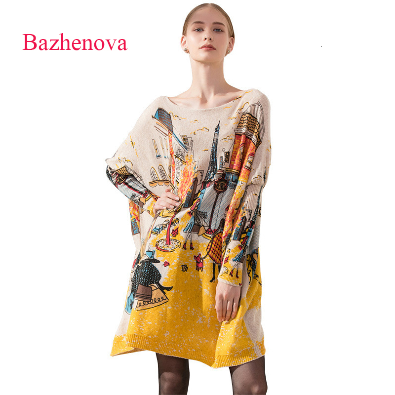 Bazhenova Woman Hip-hop Printing Swater Women Sexy Batwing Sleeve Long Swaters Girls Personality Graffiti Tops Clothes <font><b>R308</b></font> image
