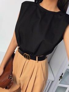 Vest T-Shirt Base-Jacket Shoulder-Pad Loose Elegant Summer-Style Fashionable Lady Sleeveless