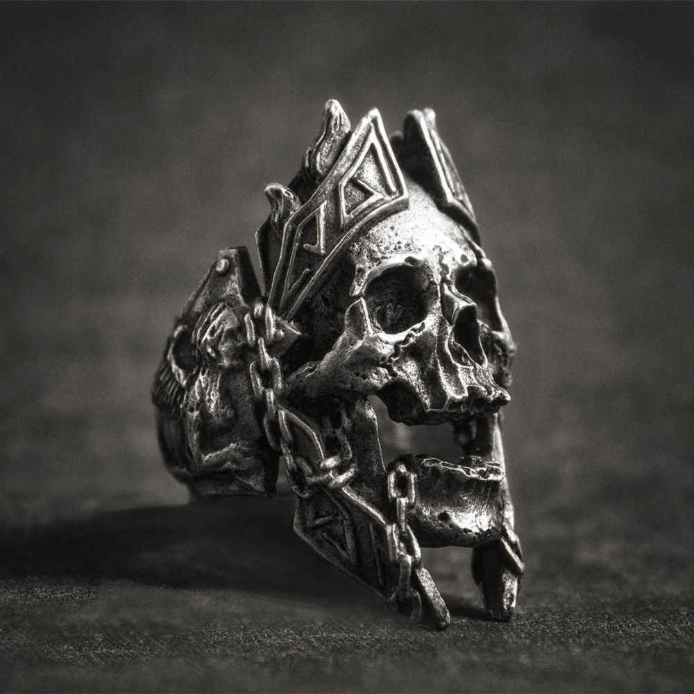 EYHIMD Unique Gods of War Ares Skull Rings Punk Rock Warrior 316L Stainless Steel Ring Mens Biker Jewelry
