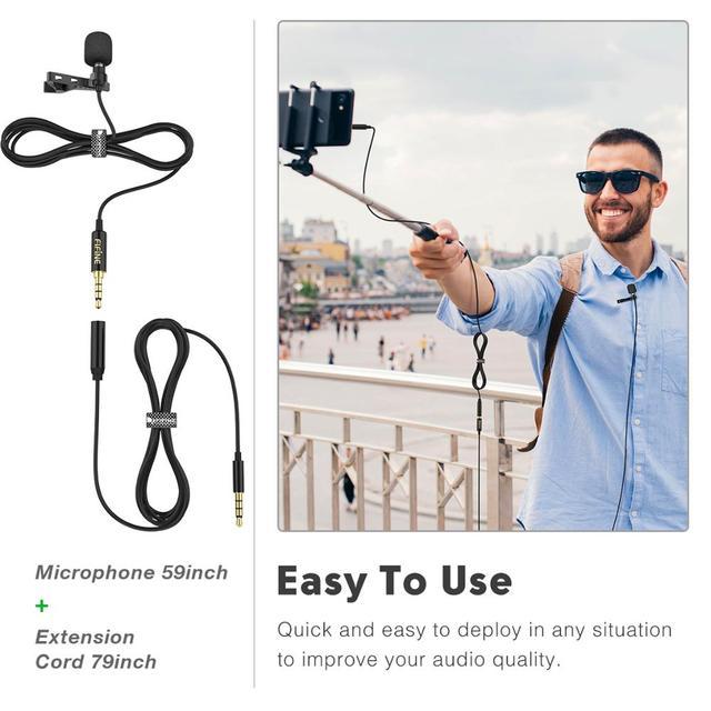 Microfone de Lapela Fifine  para Câmera DSLR e Smartphones - Ideal para Entrevistas e Gravações de Videos.  2