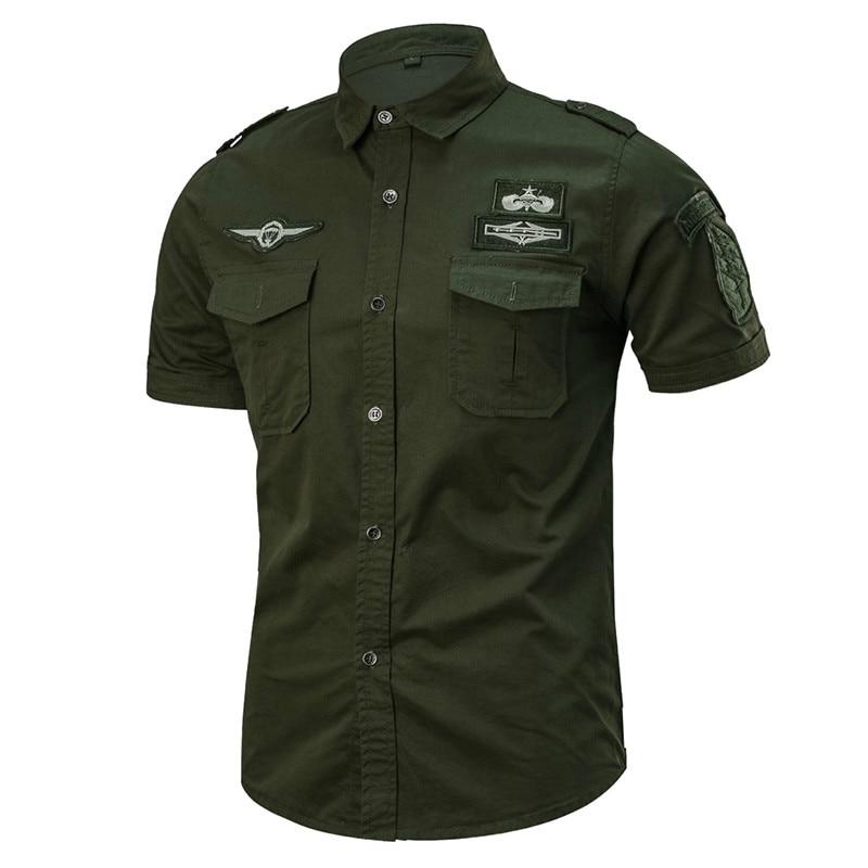Summer Cotton Army Shirt Men Fashion Casual Military Short Sleeve Shirts Male Airborne Tactical Shirts Camisa Militar Masculina
