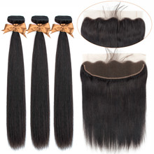 Beaudiva Brazilian Straight Hair Weave Bundles 3 With Frontal Human 13x4 Lace