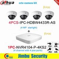 Dahua IP surveilliance system NVR kit 4CH 4K video recorder NVR4104 P 4KS2 & Dahua 4MP IP camera 4pcs IPC HDBW4433R AS