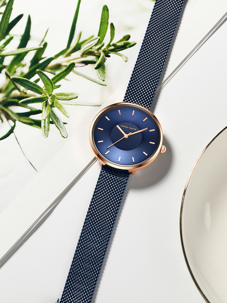 Watches Movement Gift Quartz Curved-Face Rose-Gold Stainless-Steel Blue Simple-Design