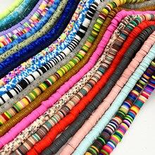 Miçangas de argila de polímero, 6mm, planas, disco solto, espaçador artesanal, para fazer joias, faça você mesmo, pulseira, busca misturada cor # t