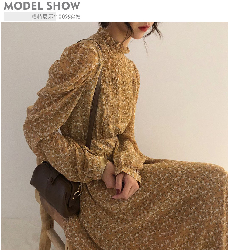 Hfc34a874ad744a3583408ed98a33bf17X - Autumn Stand Collar Long Sleeves Waist-Controlled Floral Print Maxi Dress