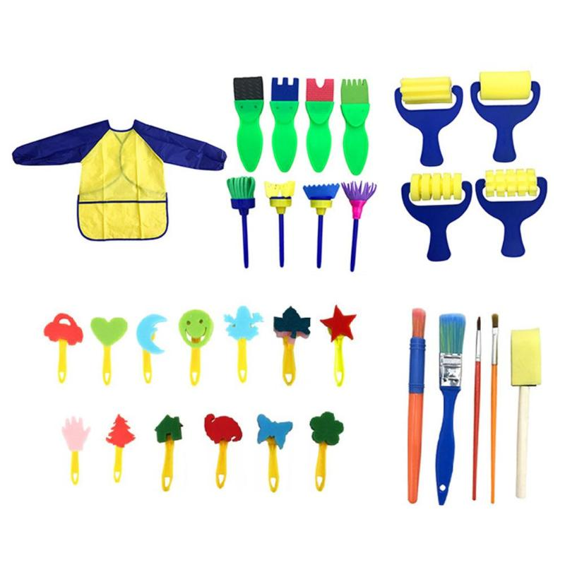 30Pcs Kids Early Learning Sponge Drawing Shapes Paint Craft Painting Brushes Kit