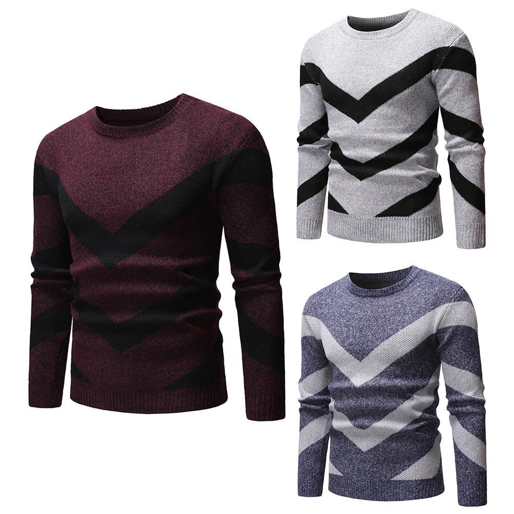 2020 Lowest Price   Men Color Block Wavy Stripe Round Neck Long Sleeve Sweater Slim T Jumper Top