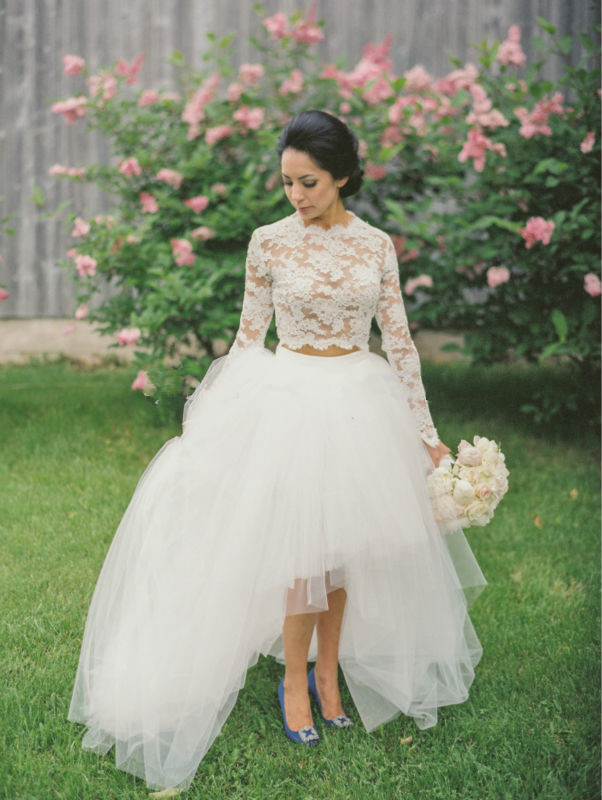 2018 White Tulle And Lace 2 Piece Long Sleeves Lovely Bridal Wedding Gown High Low Fashion Casamento Mother Of The Bride Dresses