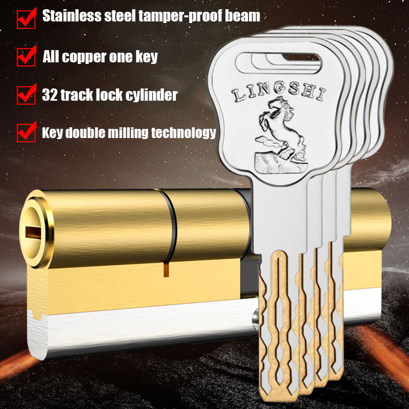 European American Standard Anti-theft Door Lock Core Gate Lock Living Room Door Lock Cylinder Stainless Steel Brass Lock 10 Keys