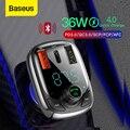 Baseus Quick Charge 4 0 автомобильное зарядное устройство с fm-передатчиком Bluetooth Handsfree FM модулятор PD 3 0 Быстрая зарядка для iPhone 11 Pro