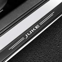 Rebord de porte de voiture, autocollants anti-rayures, en Fiber de carbone, pour couverture pédale, pour Nissan Juke, pour protection de porte automobile, 4 pièces