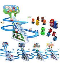 Электронная дорога лестницы Интеллект игрушка музыка мультяшный слайд Электрический восхождения лестничные перила автомобиль игрушки