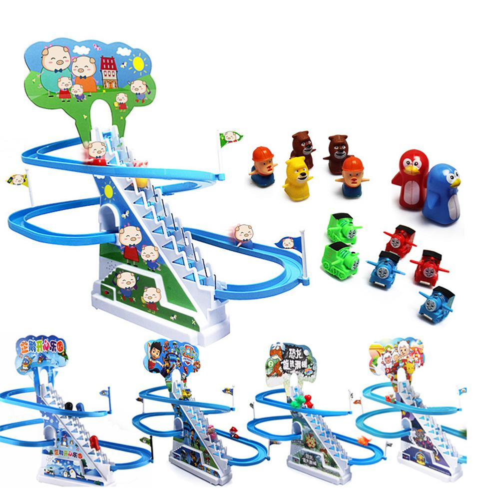Electronic Rail Stairs Intelligence Toy Music Cartoon Slide Electric Climbing Stair Rail Car Toys