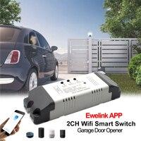 Controlador inteligente WiFi para apertura de puerta de garaje, controlador de aplicación remota compatible con Alexa Echo, Google Home, eWelink, RF, 433MHz