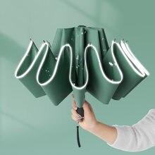 Winddicht Reverse Klapp Automatische Regen Regenschirm Für Männer Frauen 10 Rippen Reflektierende Streifen Tragbare Weibliche Regenschirm Männlichen Paraguas