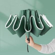 Windproof Reverse Folding Automatic Rain Umbrella For Men Women 10 Ribs Reflective Stripe Portable Female Umbrella Male Paraguas