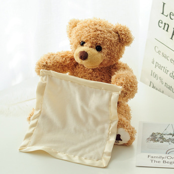 30cm Teddy Bear Play Hide Seek Lovely Stuffed Kids Birthday Xmas Christmas Gift Electric Music Bear Plush Toy