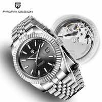 Relojes para hombre 2019 nuevo diseño PAGANI de marca de lujo, reloj de acero mecánico automático de moda para hombres, reloj de pulsera deportivo militar + caja