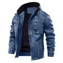 Men's PU Jacket Leather Coat Autumn Slim Faux Leather Motorcycle Jackets Stand collar Coats Male Drop shipping
