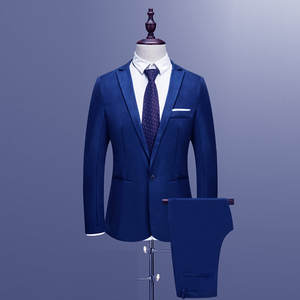 Men's Suits Spring Slim-Button Male Casual Autumn Pure-Color