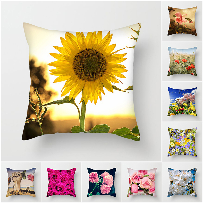 Fuwatacchi Floral Printed Cushion Cover Flower Leaves Pillow Cover Colorful Decorative Pillowcase For Sofa Chair Bedroom Decor