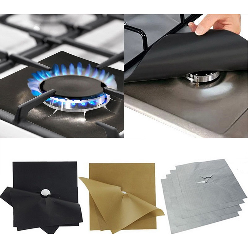 1pcs/4pcs Reusable Non-stick Foil Range Stovetop Burner Protector Liner Cover For Cleaning Kitchen Tools Protection
