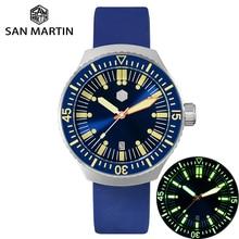 サンマーティンメンズヴィンテージステンレス鋼ダイバー自動発光ゴムリストバンド 200 メートル防水ダイビング腕時計 SN0039