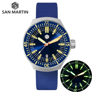 Image 1 - サンマーティンメンズヴィンテージステンレス鋼ダイバー自動発光ゴムリストバンド 200 メートル防水ダイビング腕時計 SN0039