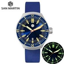 San Martin Men สแตนเลสสตีล Diver อัตโนมัติส่องสว่างสายรัดข้อมือยางกันน้ำ 200 เมตรดำน้ำ SN0039