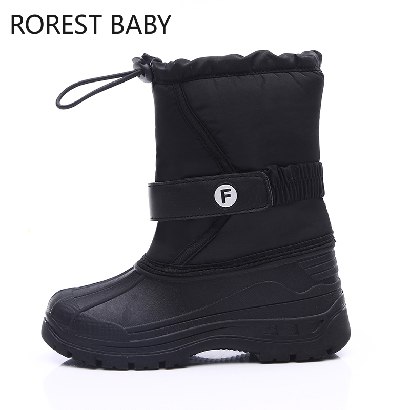 Kids Girls Boots Children Rubber Anti-slip Snow Boots Shoes For Girl Big Kids Waterproof Warm Winter Shoes Boys Motorcycle Botas