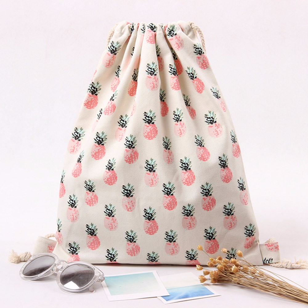 Women Pineapple Prints Drawstring Backpack Large Capacity Shopping Bag Ladies Travel Sports Bags Simple Fashion String Pouch