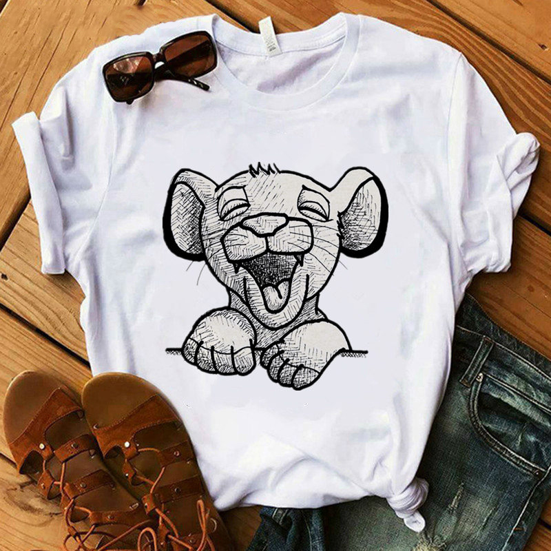 Lion King Cartoon Print T-Shirt Two Little Lion Fashion Casual Short Sleeve Girl Print O-Neck T-shirt Hakuna Matata Tee