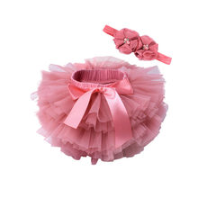 Baby Girls Tulle Bloomers Infant Newborn TuTu Diapers Cover 2pcs Short Skirts And Flower Headband Baby Party Photograph Clothes