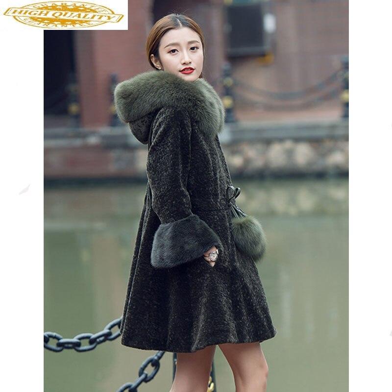 Winter Jacket Women Sheep Shearling Real Fur Coat Female Real Fox Fur Collar Wool Coats Long Jacket Plus Size 5xl MY4215