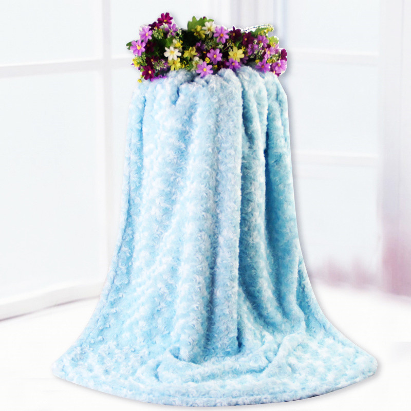 Rose Velvet + Lamb Cashmere Blanket Solid Baby Blanket Newborn Boys Girls Infant Thickening Stroller Blanket Newborn Cover Minky