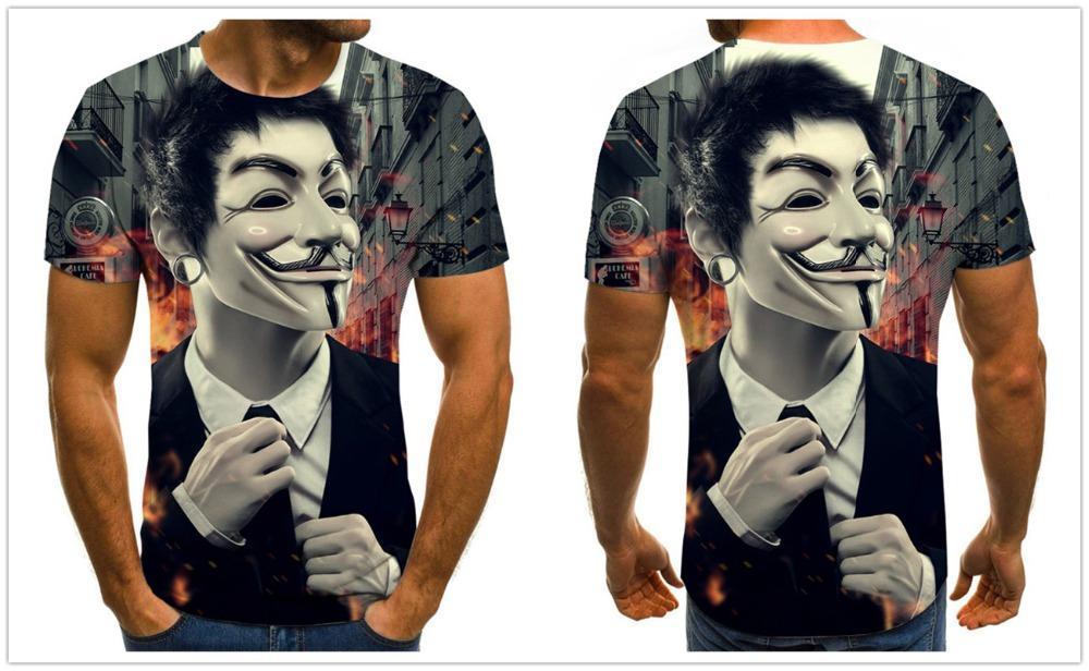 Мужская футболка с принтом «Джокер» Повседневная круглым вырезом