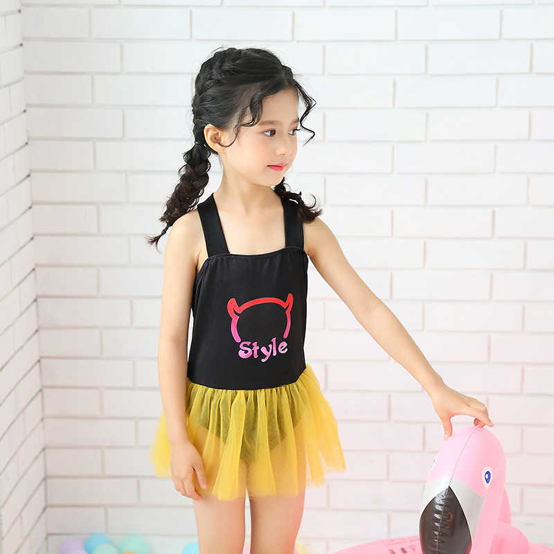 Korean-style Cute KID'S Swimwear Cartoon Swimwear One-piece Tutu Princess Style Small Middle And Large Baby Girls Tour Bathing S