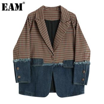 [EAM] נשים משובץ ג ינס פיצול גדול גודל בלייזר חדש דש ארוך שרוול Loose Fit מעיל אופנה גאות באביב סתיו 2021 1DC811