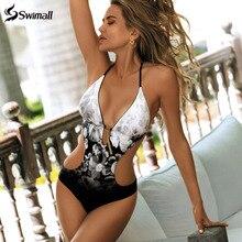 Цельный купальник с принтом, женская одежда для плавания, монокини с глубоким v-образным вырезом, боди с открытой спиной, купальный костюм, пляжная одежда, купальный костюм с высоким вырезом
